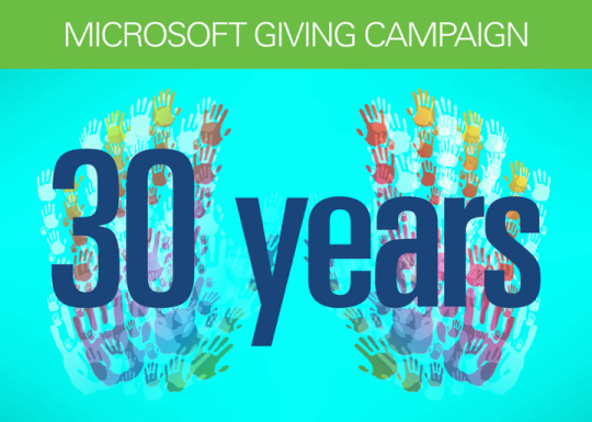 Microsoft's giving campaign celebrates its 30th anniversary in 2012. In 2011, Microsoft employees across the United States raised $100.5 million.